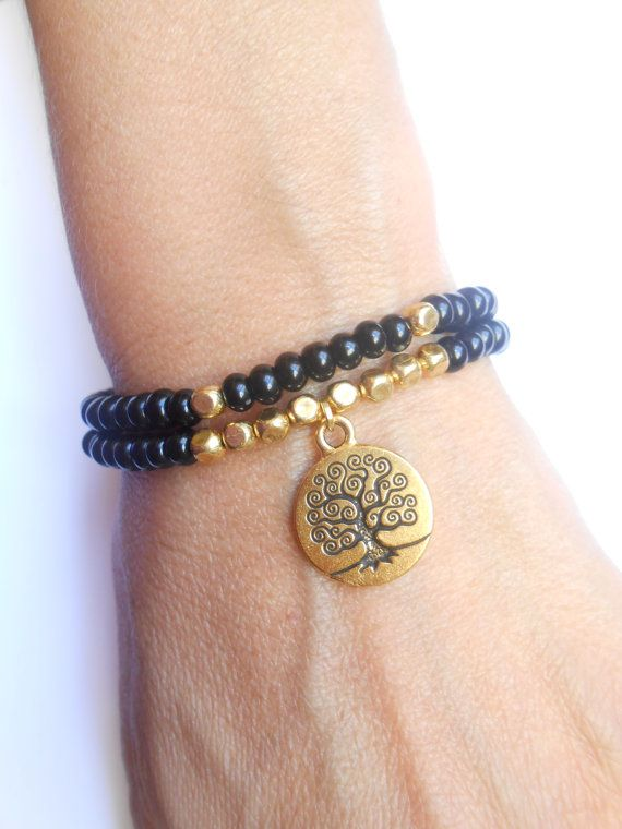 Tree of Life bracelet Stretch elastic beaded bracelet by HVart, $28.99
