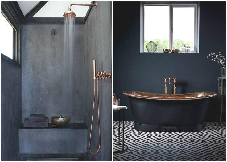 Медная ванна в интерьере #дизайн #интерьер #декор #медь #медный