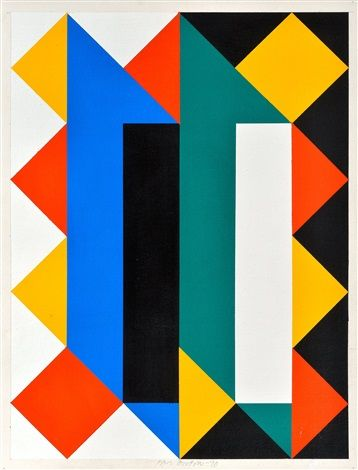 Paul Osipow: Composition, 1990, acrylic on cardboard, 59x46 cm