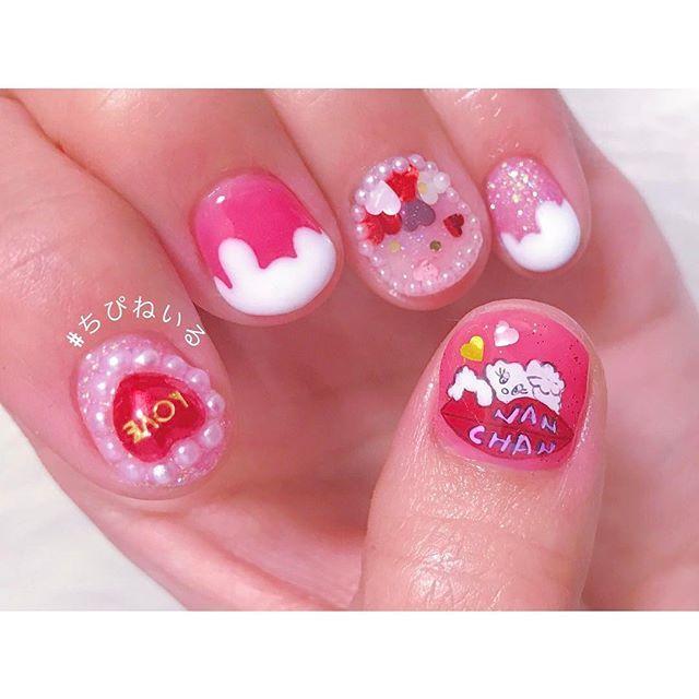 【chipiooo】さんのInstagramをピンしています。 《#nail #nailart #nailist #nailstagram #nailswag #gelnails #girlynails #lovely #pinknails #pink #tokyo #cute #heart #foxy #foxynails #ゆめかわいい #ゆめかわネイル #アクアリウム #きらきら #バレンタインネイル #痛ネイル #手描き #中野 #ちぴねいる  2.14が近いから、ぷりちー詰め込んでみたよ✨ かれぴぴぴぴの名前いり痛ねいる、皆々様もトライして頂けたら幸い》