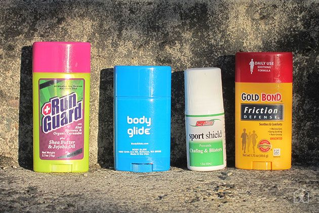 The Best Anti-Chafe | When you're running, your clothes can become waterlogged and drag against your skin, causing chafing. Anti-chafe products create a thin barrier on the skin that guards against irritation. The best choice is Gold Bond Friction Defense because it provided the same amount of protection for half the price of the next cheapest option.