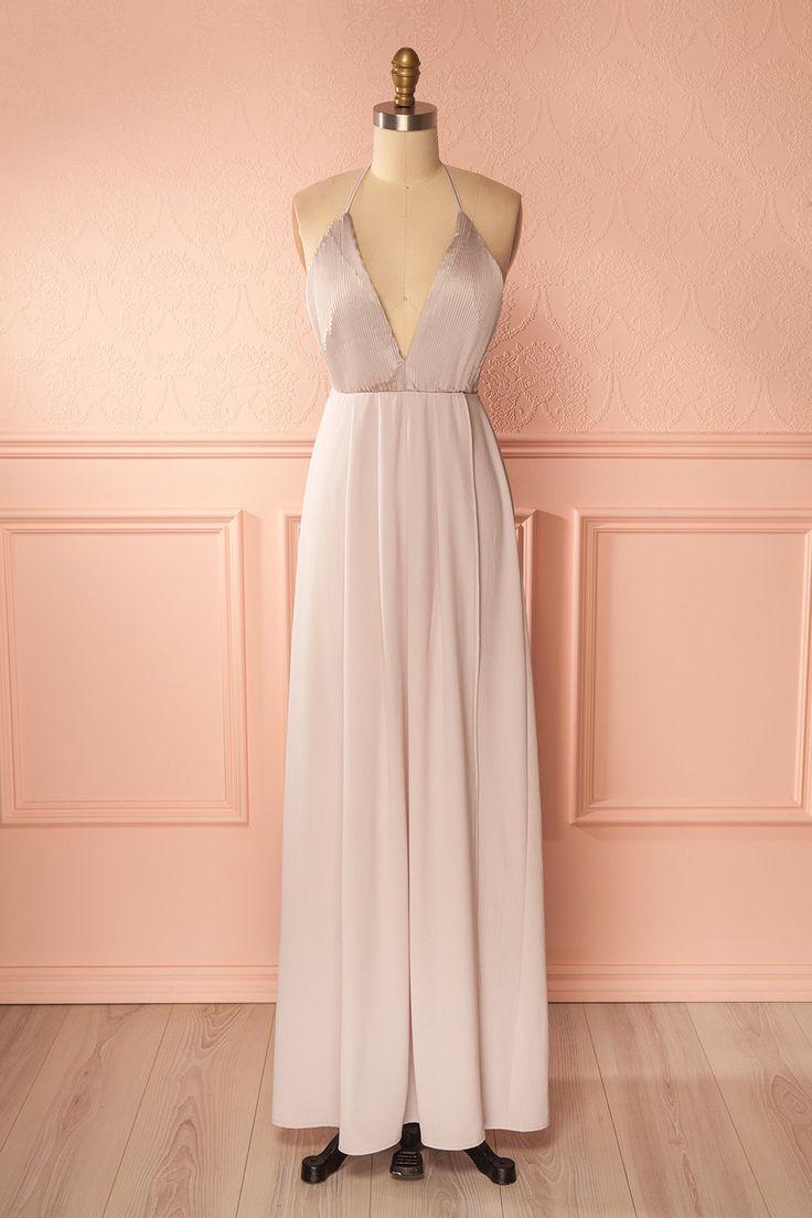 Taupe wrap gown with pleated bust - Robe de soirée portefeuille taupe à buste plissé