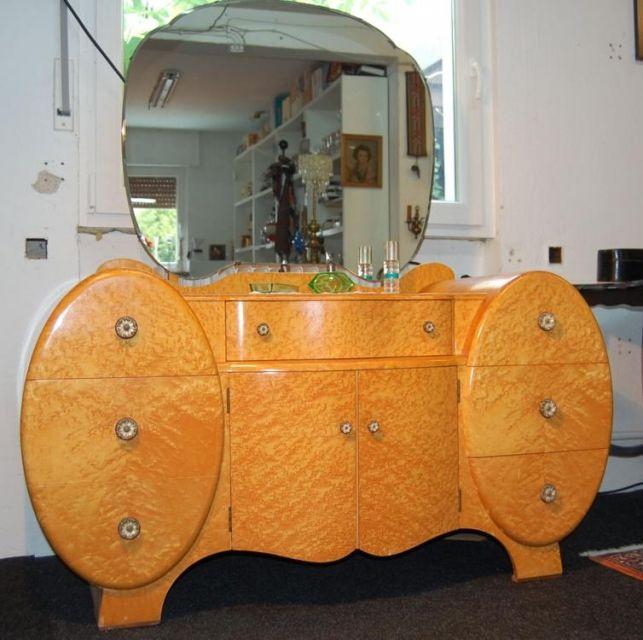 Art Deco Frisierkommode + Wäschehocker, aus England um 1920-30