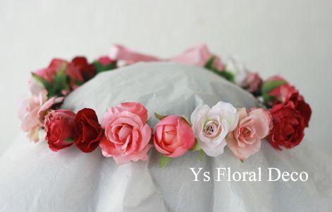 hk00280 華やかな花エプロンにピンク赤の花冠 ys floral deco @アニヴェルセル江坂