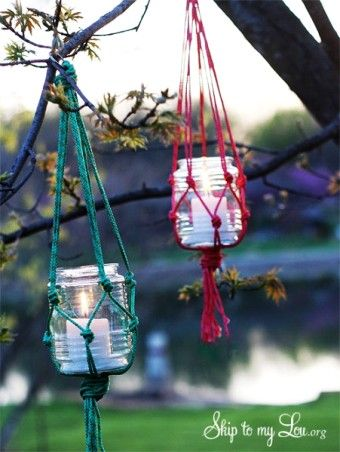 Hanging Mason Jar Candle Holders Lights with Nylon cord For 2016 new year - Mason Jar crafts, 2016 Outdoor Decor Ideas
