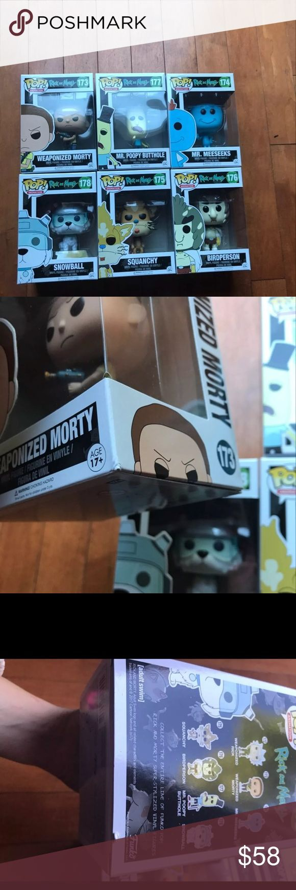 Rick and Morty Funko Pops X 6(PLZREAD) DISCOUNTED FOR BOX DAMAGE AS SHOWN IN LAST FEW PICS*Contents Unharmed*Perfect For out Of Box Collectors*Brand New In Box***No TRADES*Price Is Firm*Appropriate Comments Only* Mr Meeseeks,Mr Poopy Bhole,Squanchy,weaponized Morty, Birdperson,Snowball(please see photos for damage) Accessories