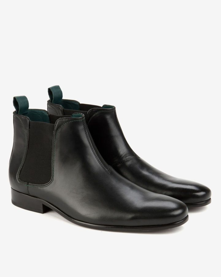 $185, Black Leather Chelsea Boots: Ted Baker Buurg Classic Chelsea Boot. Sold by Ted Baker. Click for more info: https://lookastic.com/men/shop_items/289019/redirect