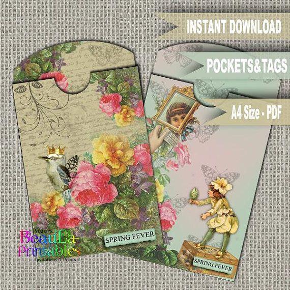 Vintage Tag & Pocket Tag Pocket Template Printable Tag and