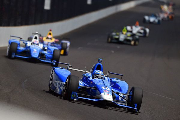 Tony Kanaan of Brazil, driver of the #10 NTT Data Honda, in action during the 101st running of the Indianapolis 500 at Indianapolis Motorspeedway on May 28, 2017 in Indianapolis, Indiana.