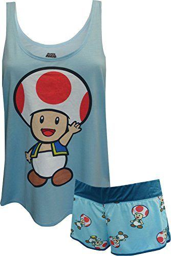 Nintendo Super Mario Toad Blue Shortie Pajama for women (Large) @ niftywarehouse.com #NiftyWarehouse #Mario #SuperMario #Nintendo #VideoGames #Gaming #MarioBrothers