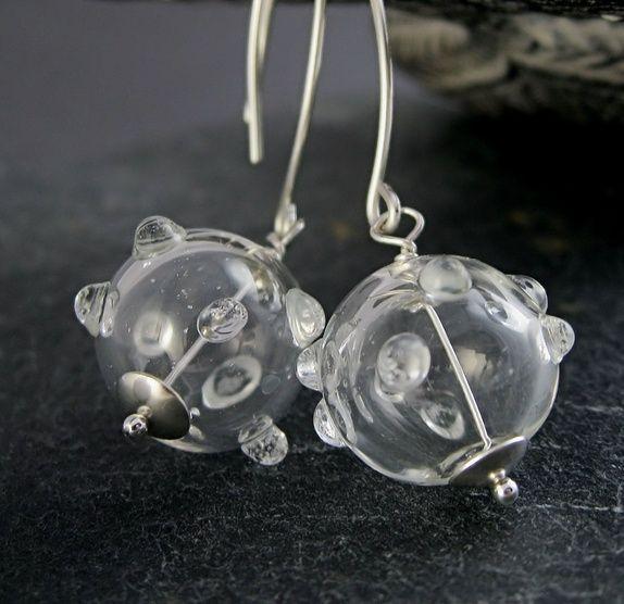 Øredobber -  håndblåst glass -   sølv