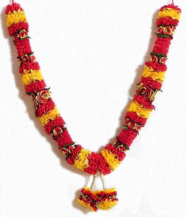 Red, Yellow, Green and Golden Ribbon Garland (Satin Ribbon))