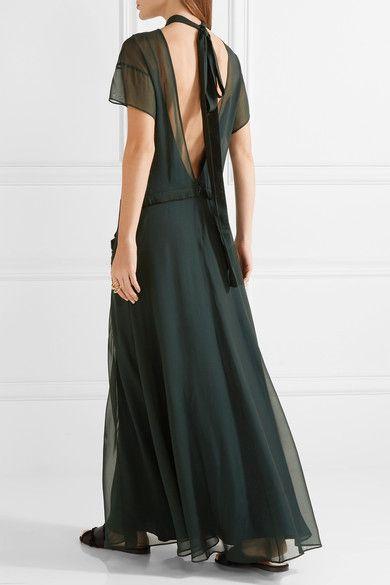 Cédric Charlier - Open-back Ruffle-trimmed Chiffon Maxi Dress - Emerald - IT40