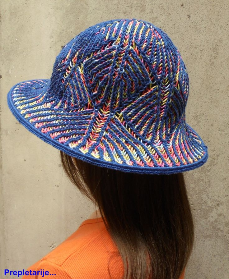 "Hand-knitted spring/summer woman brimmed hat ""Kaleidoscope"" / Brioche 2 color knitting technique by KnittedAir on Etsy"