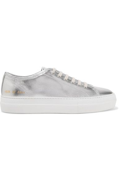 Common Projects - Tournament Metallic Leather Sneakers - Silver - IT42