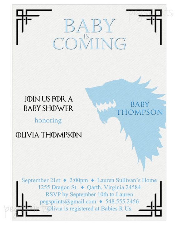 Game of Thrones Baby Shower Invitation Printable by pegsprints