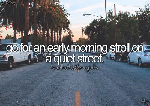 Go for an early morning stroll on a quiet street ✔ 9 February 2016- Walked for30mins this morning through my suburb and part way through the next before getting on a bus for the rest of the journey into work- think I will continue this each morning while the weathers good