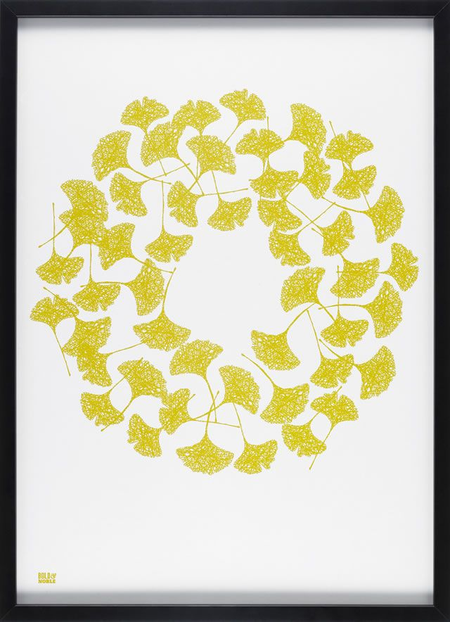 Ginkgo, yellow moss | Bold & Noble screen print