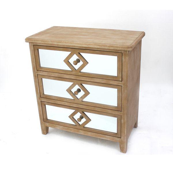 Mirrored 3-drawer Wood Dresser