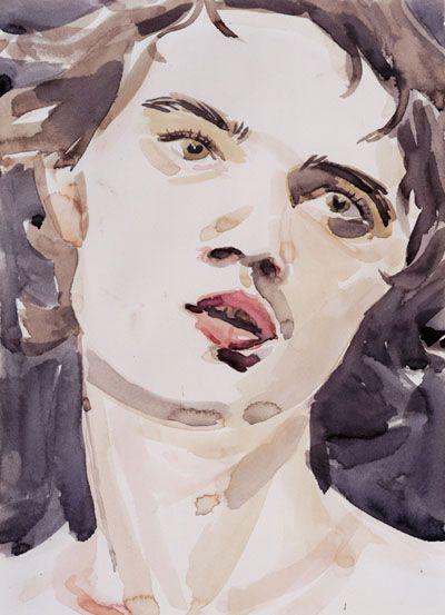 Pete (Pete Doherty) 2005 Watercolor on paper by Elizabeth Peyton