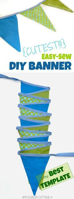 This easy diy bunting banner tutorial includes a free template and a few tips and tricks to make it easier for you. A perfect beginner sewing project for sewing enthusiasts! Click through to check it out.
