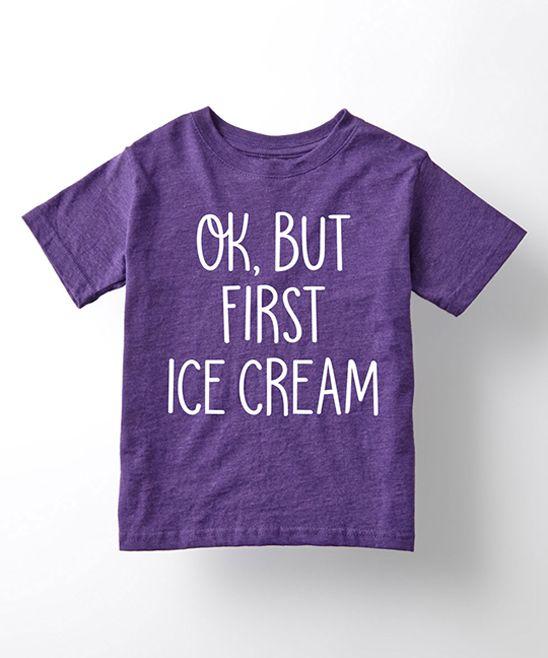Purple 'Ok But First Ice Cream' Tee - Toddler & Girls