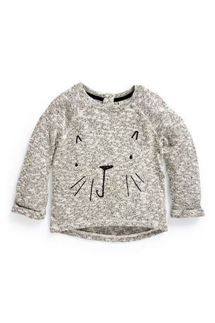 Stitchy Cat Face Jumper (3mths-6yrs)