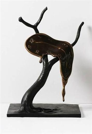 "Salvador Dali ""Profile of Time"" bronze sculpture of a melting clock is available through Robin Rile FIne Art."