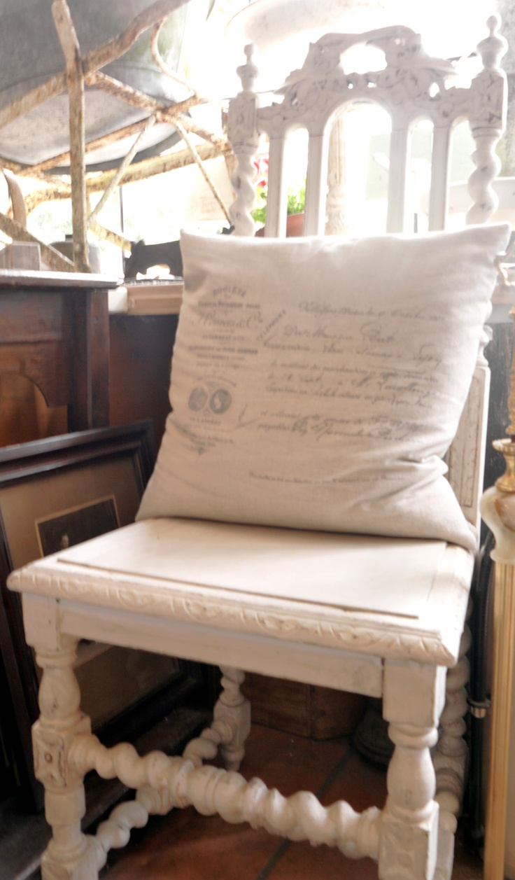 Linen script cushion and French painted chair, La Maison