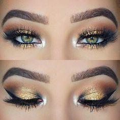 Gold Glitter Eye Makeup Look for Green Eyes