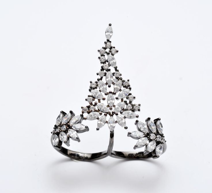 Elegant Two Finger Ring - Silver Drops Ring - Unique Ring - Elegant Ring - Zirconia Drops Ring - Jewelry Gift by ArtesSilver on Etsy