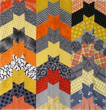 Halloween Quilt Patterns | Block Party Halloween Quilt, free pattern by Kathy Mack at Pink Chalk ...