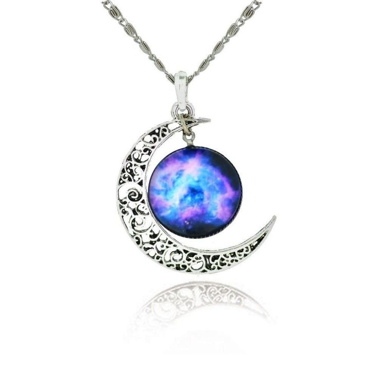 Cosmic Moon Pendant Necklace Purple Glass Chain Great Valentines Gift for Women  #Luvalti #Pendant