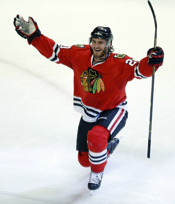 Brandon Saad celebrates his goal against the Wild in the second period.  Yes - he is very handsome.