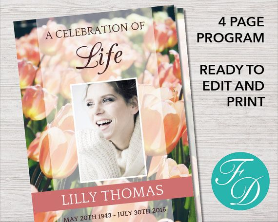 Funeral program template order of service by FuneralDesigns