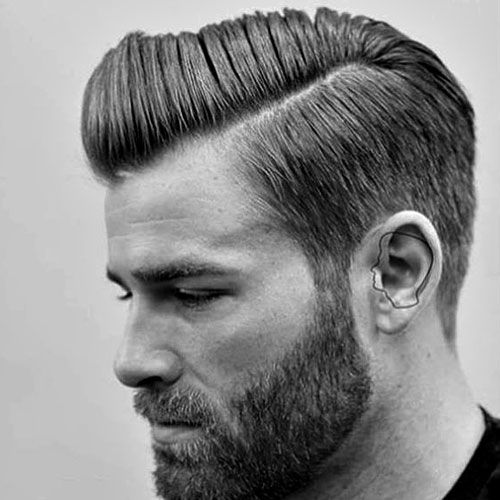Men's Straight Hairstyles - Hard Side Part with Beard