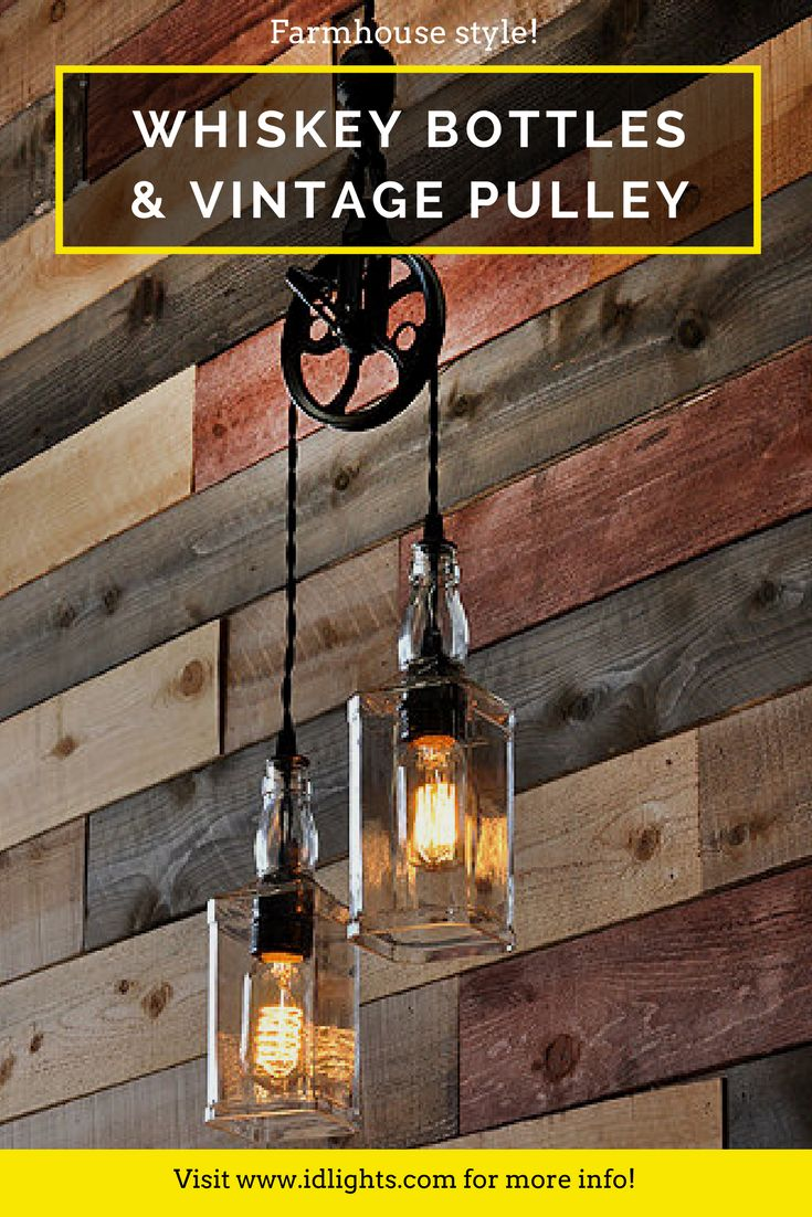 These Whiskey Bottle lights with vintage pulley can be made with any two bottles of your choice, whether they be wine bottles or liquor bottles like Whiskey/Whisky/Scotch one (any brands, Scottish or Irish). They have many to choose from. The metal aluminum pulley can be finished in black, oil rubbed bronze or copper.