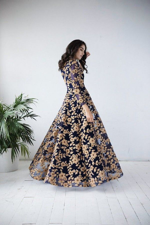 Ribbon work flared gown