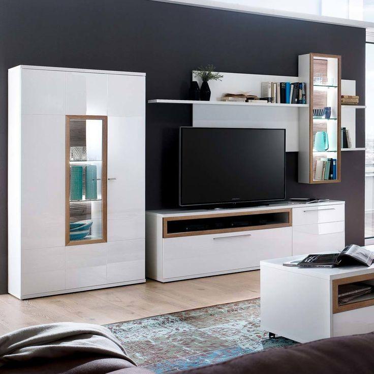 Fresh TV Anbauwand in Wei Hochglanz Eiche cm teilig Jetzt bestellen unter https moebel ladendirekt de wohnzimmer tv hifi moebel tv waende uid ud