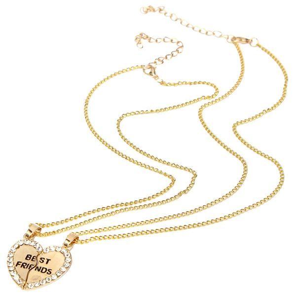 Rhinestone Broken Heart Necklaces