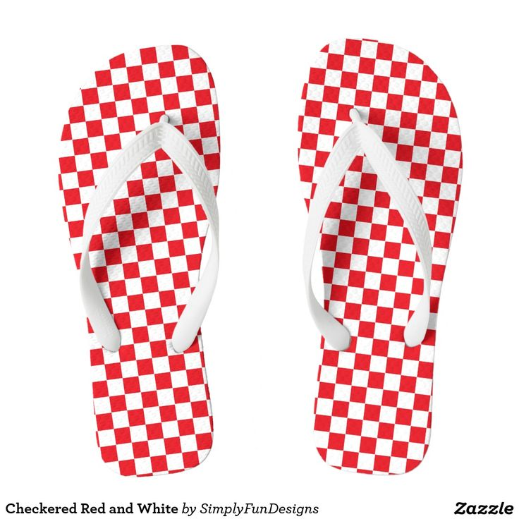 Checkered Red and White Flip Flops