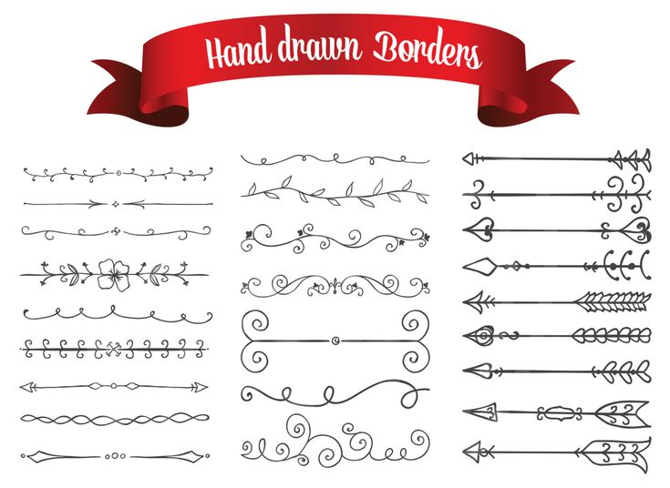 Hand Drawn Decorative Border Arrow Lines Digital Clip Art