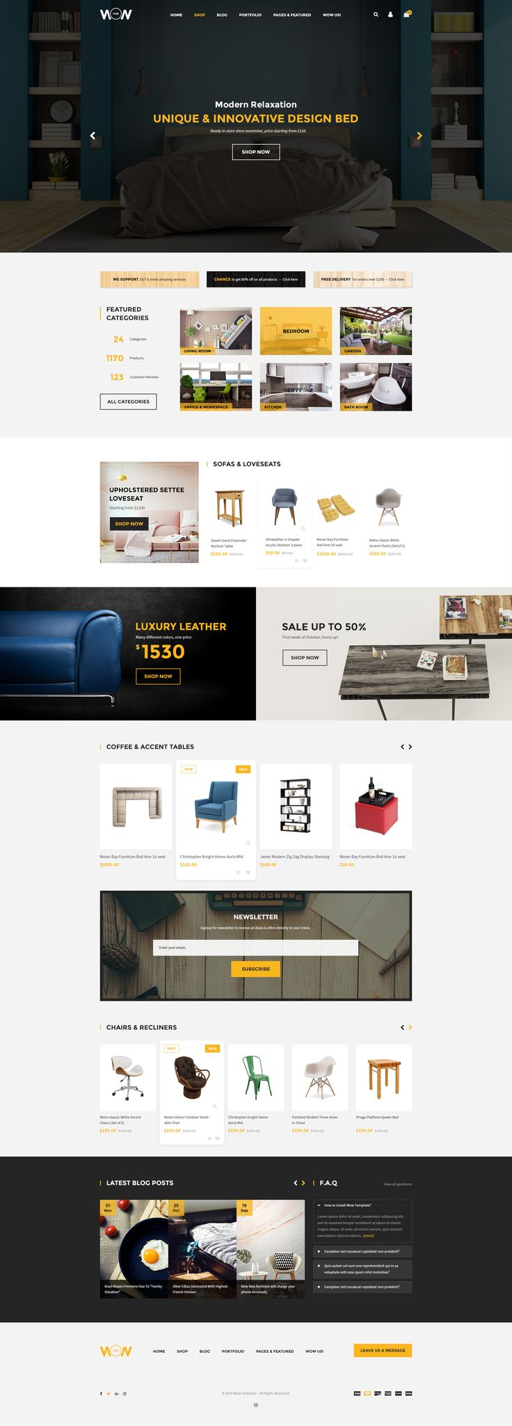 Wow PSD Template - Interior Homepage 01