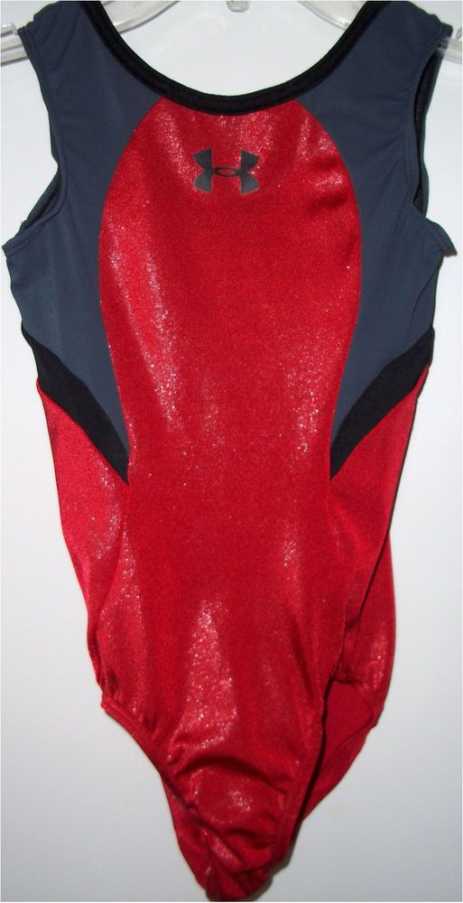 Under Armour Black Gray Red Foil Girls Gymnastics Dance Leotard CL Childs Large #GKEliteUnderArmour