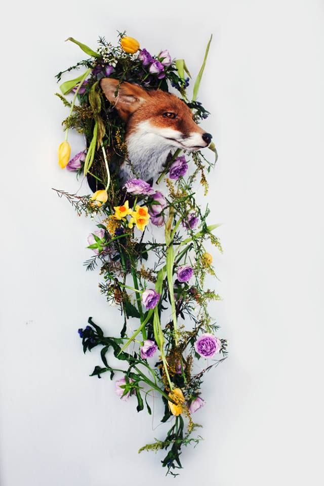 My little fox looks bewildered but beautifully floral with his flower garland of wilting spring blooms by Yan Skates
