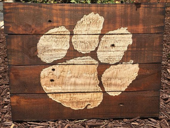 By Harvey Pallet Designs: Clemson Tiger Paw Pallet Wood Art Reclaimed Wood Sign Pallet Decor