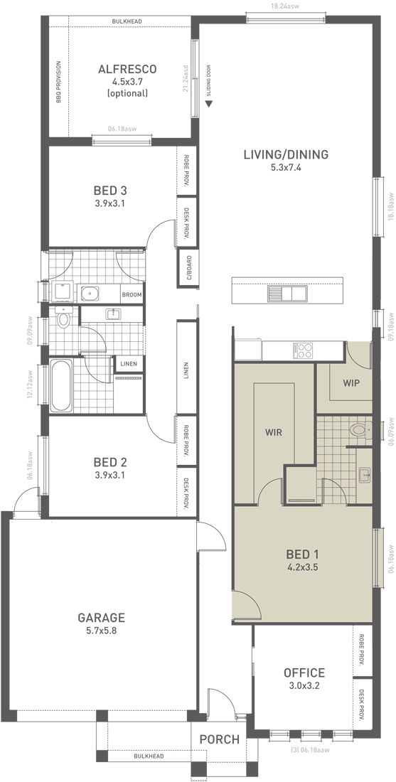 Design Fifteen Floorplan Option A -  from the Weeks and Macklin Homes Choice Series. A clever open plan design. Packed into this design are beautiful open living spaces and large bedrooms. Clever storage features in each of the additional bedrooms and the areas linking the private and public zones. #weeksmacklinhomes #floorplan #house