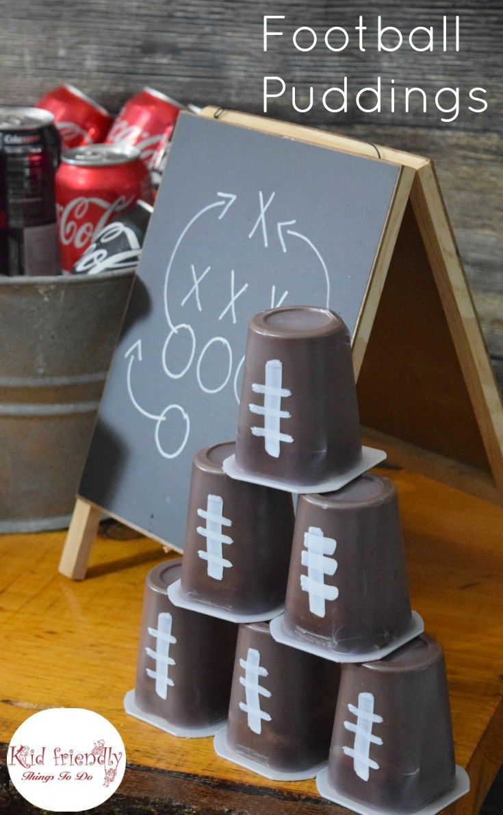 football snack pudding. Football Watch Party Ideas, recipes, and Football Cup Cozies! Crafts, Games, Food and more! Such fun ideas in this post! - www.kidfriendlythingstodo.com