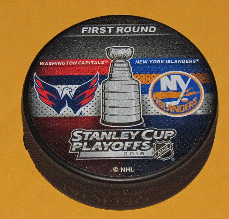 WASHINGTON CAPITALS vs NEW YORK ISLANDERS 2015 Playoffs NHL DUELING LOGO PUCK #InGlasCo #NewYorkIslanders