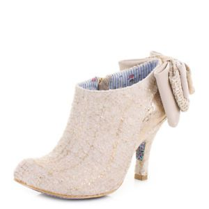 WOMENS IRREGULAR CHOICE BABY BEAUTY OFF WHITE GOLD WEDDING ANKLE BOOTS SIZE